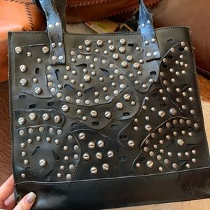 New Patricia Nash black handbag with studding